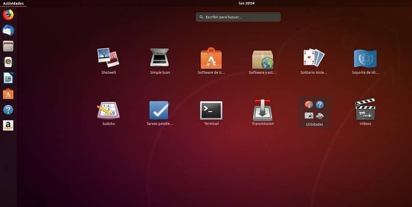 interfaz de inicio de linux