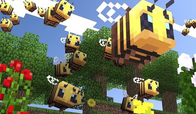 abejas en el juego de minecraft