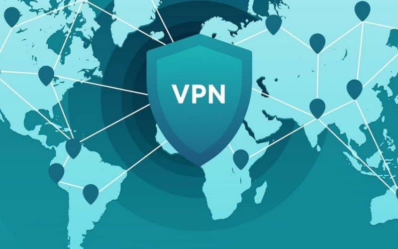 VPN en el mapa del mundo verde